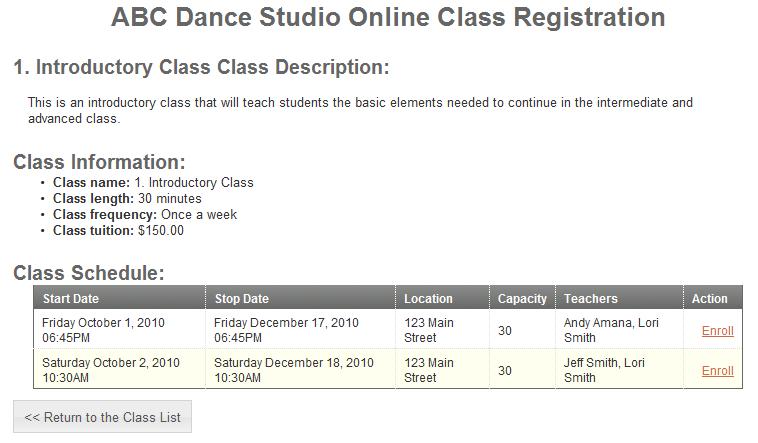 Studioware-Online.com Help - Online Enrollment Sample